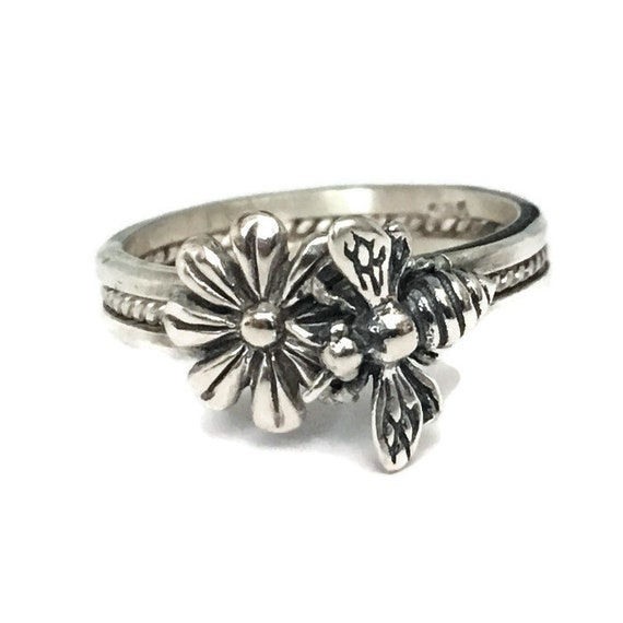 Honey Bee Ring, 925 Sterling Silver, Handmade USA, Made to Order, Boho