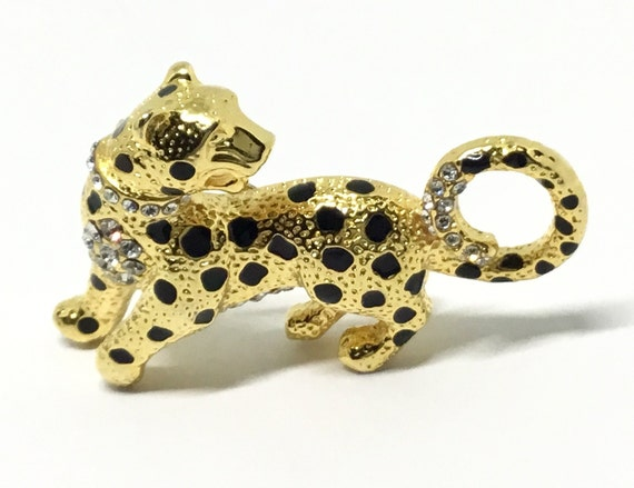 Vintage Leopard Brooch, Clear Rhinestones, Leopard Lovers