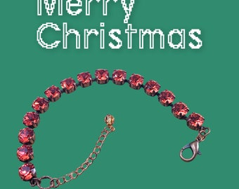 Handcrafted Padparadscha European Crystal Bracelet, 8mm Crystals, Copper Plated, Christmas Gift