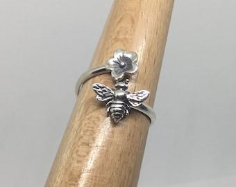 Handmade USA Bee Bypass Ring, Sterling Silver, Boho