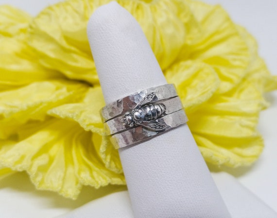 Handcrafted Bee Sterling Silver Stacking Rings, Three Sterling Silver Rings, Hammered Bands, Sterling Silver Bee