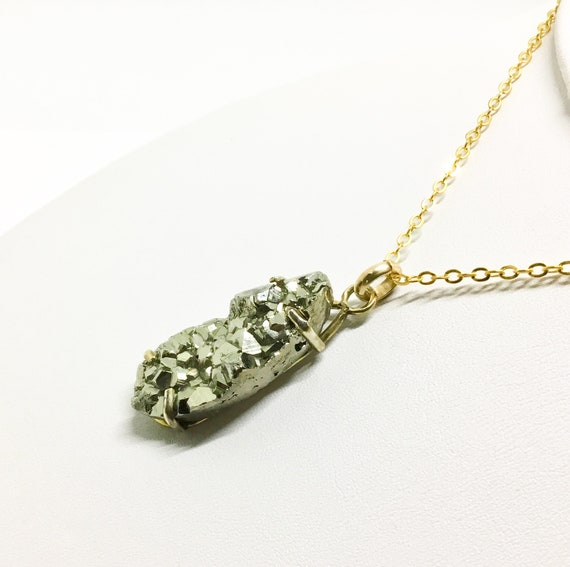 Handcrafted Pyrite Cluster Necklace, Fools Gold, Mineral, Pyrite Jewelry, Long Goldtone Chain