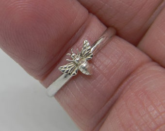 Handmade USA Mini Bee Ring, 925 Sterling Silver Bee and Ring, Honey Bee Ring