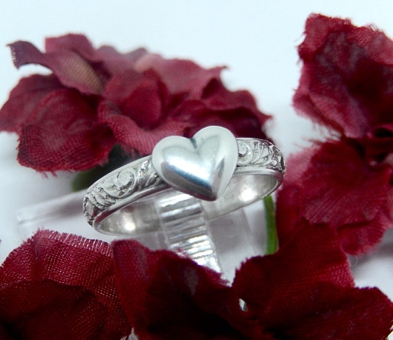 Sterling Silver Valentine Heart and Ring, Filigree Band, Made in USA, Handcrafted.