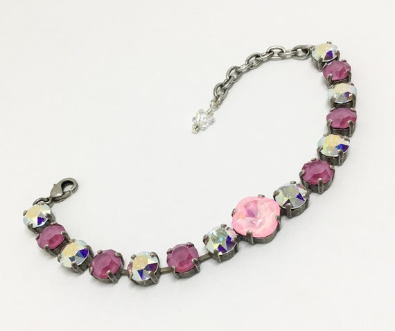Handcrafted Swarovski Crystal Bracelet, 8mm PInk & Clear AB Crystals, 12mm Faceted Cushion Cut Pink Center Crystal, Sparkly Bracelet