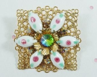 Milk Glass Flower Brooch, Filigree GoldTone Frame, Rivoli Rhinestone Center, Vintage Brooch, Hand Painted Flowers/ Milk Glass Petals/ Dainty