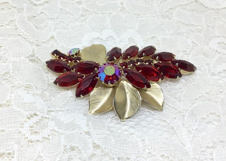 Vintage Red Rhinestone Flowers and Goldtone Leaves Brooch Pin