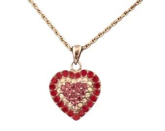 Vintage Crystal Heart Necklace, Red Clear & Pink Crystals, Sparkly