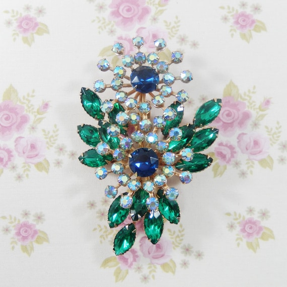 Vintage Large Beau Jewels Green Blue AB Rhinestones Flower Brooch