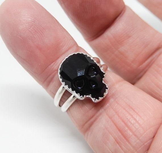 Skull Ring/ Swarovski Crystal/ Handcrafted/ Sterling Silver
