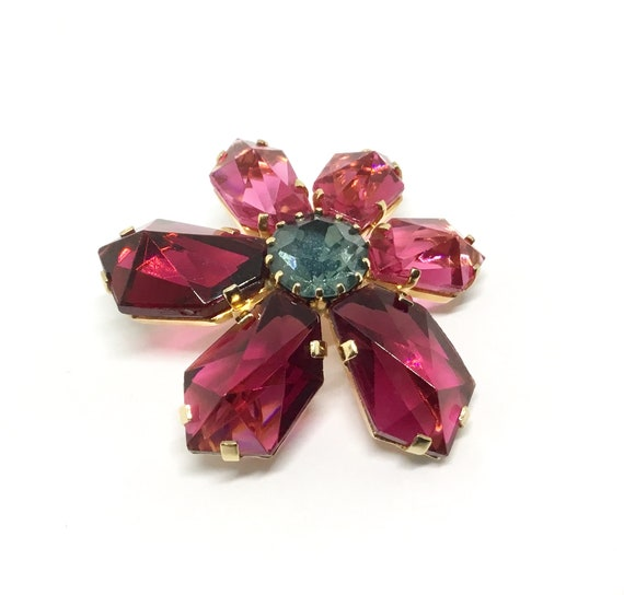 Vintage Rhinestone Flower Brooch/Earrings, Large Fuchsia/Pink Rhinestones, Large Light Blue/Green Center, Matching Earrings, Signed Austria