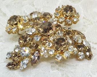 Vintage Amber & Clear Rhinestone Flower Brooch Pin