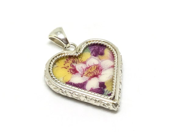 Broken China Jewelry/ Hand Cut Heart Pendant/ Vintage Porcelain/ Sterling Silver Bezel/ Made USA/ Flower/ Romantic Gift/ Handcrafted