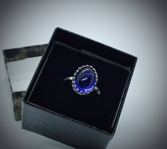 Ring Made with Vintage Swarovski 14 x 10mm Blue Crystal