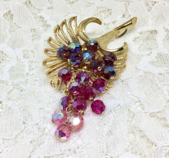 Vintage Park Lane Purple Pink Faceted Glass Bead Brooch Earring Set