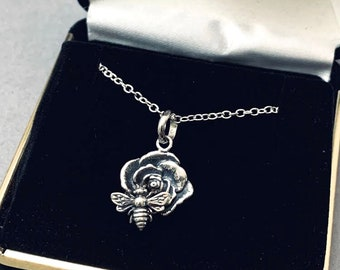 Handmade Sterling Silver Bee on Rose Necklace