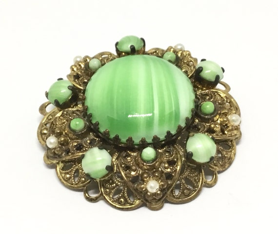 Vintage West Germany Green Swirl Brooch, Goldtone Filigree, Faux Pearl Accents, Convex Shape