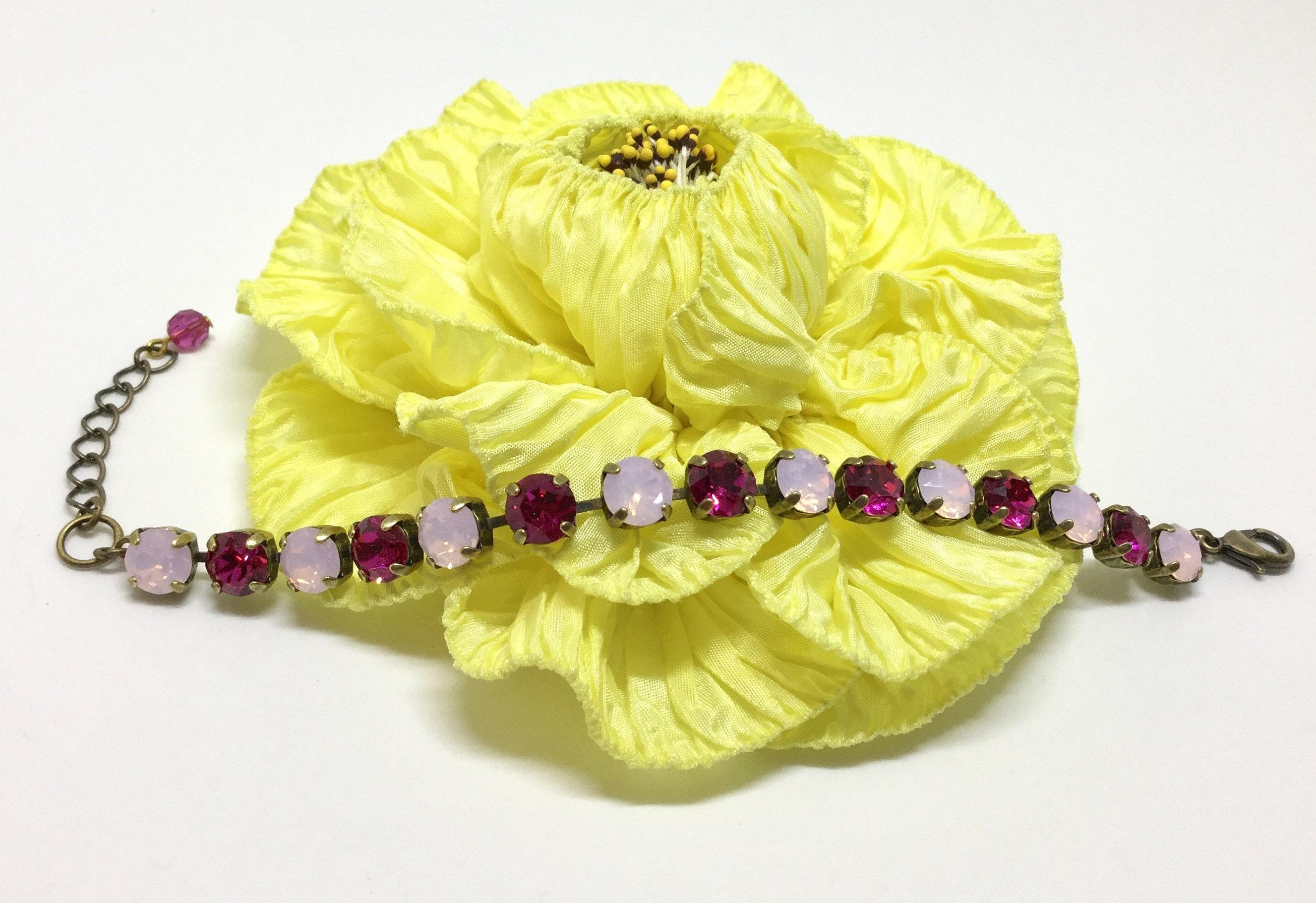 28c60f6923a3b Swarovski Crystal Bracelet, Alternating Rosewater Opal & Fuchsia ...