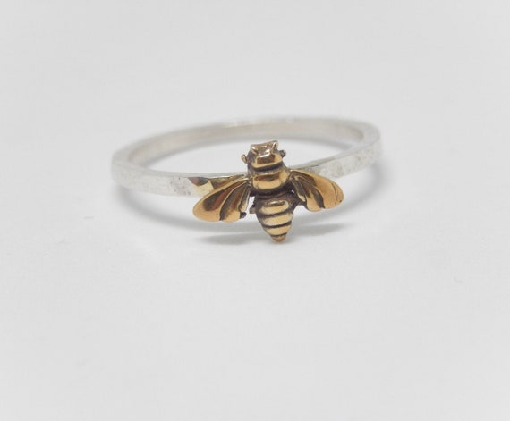 Bee Ring/ Stacking Ring/ Tiny Honey Bee/ Sterling Silver/ 14k Gold Plated Bee/ Handmade USA/ Hammered Band