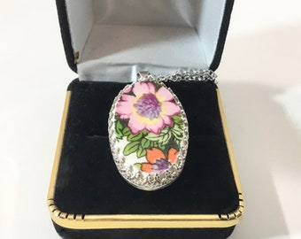 Handcrafted Floral Broken China Pendant, Sterling Silver Setting, Broken China Jewelry