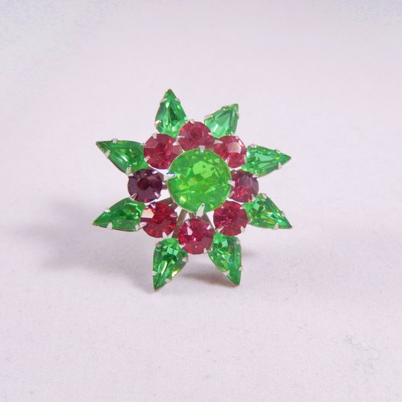 Vintage Coro Pink and Green Rhinestone Pin
