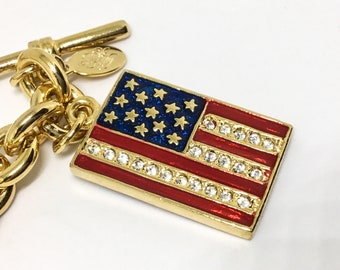 Kirks Folly Bracelet/Reversable Flag Charms/Rhinestone Enamel Flags/USA Flag/Union Jack Flag/Rich Goldtone Chain/Toggle Closure