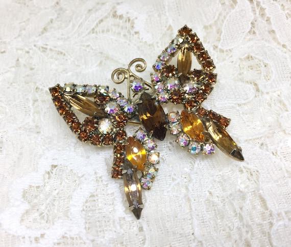 Vintage Brown Amber Rhinestone Butterfly Brooch Pin