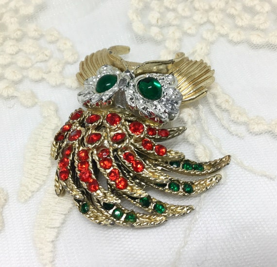 Vintage Rhinestone Articulated Tail Feathers Owl Brooch Pin