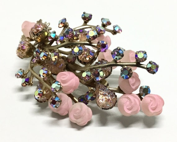 Vintage Pink Flower Spray Brooch, Pink Rhinestones, Pink Celluloid Roses, Rhinestone Jewelry, Large Floral Spray