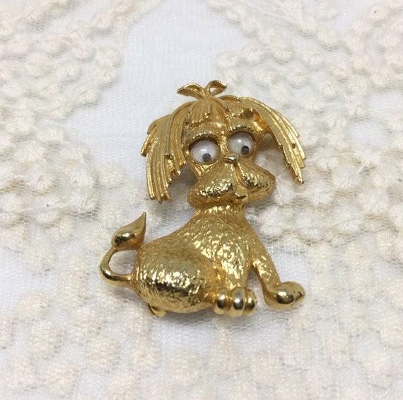 Dog Brooch/Signed Park Lane/Vintage Dog Pin/Vintage Brooch Pin/Google Eyed Dog/Goldtone/Cute Dog Pin/Vintage 70s/80s/Adorable
