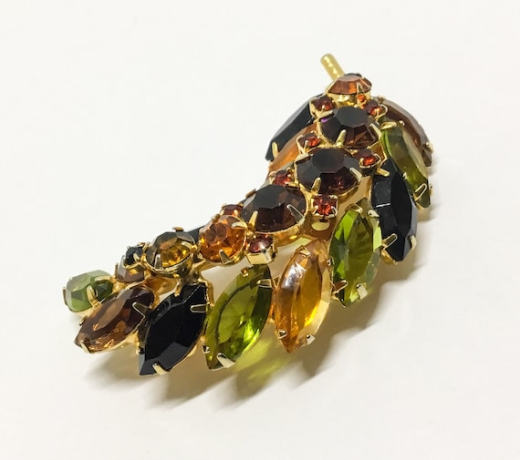 Vintage D & E JulianaLeaf Brooch, Fall Color Leaf Brooch, Dimensional, Juliana Collectors