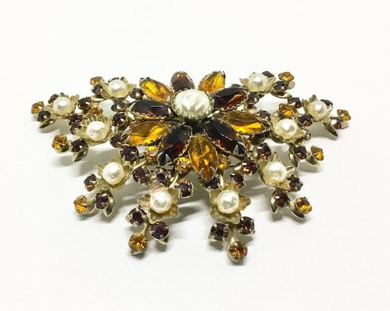 Vintage Judy Lee Rhinestone Brooch, Faux Baroque Pearls, Floral Motif, Amber Color Rhinestones, Judy Lee Jewelry, Book Piece