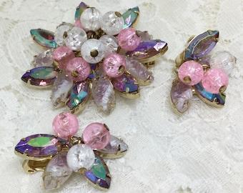 Vintage D&E Juliana Pink AB Rhinestone Crackle Bead Dangle Brooch Earring Set