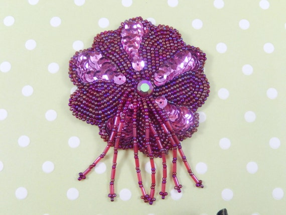 Vintage Large Pink Sequin Cranberry Red Glass Bead Flower with Bead Dangles Applique Brooch Pin
