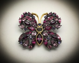 Vintage Joan Rivers Rhinestone Butterfly Brooch, Bejeweled Butterfly Collection, Purple and Pink Shades, Gunmetal Setting
