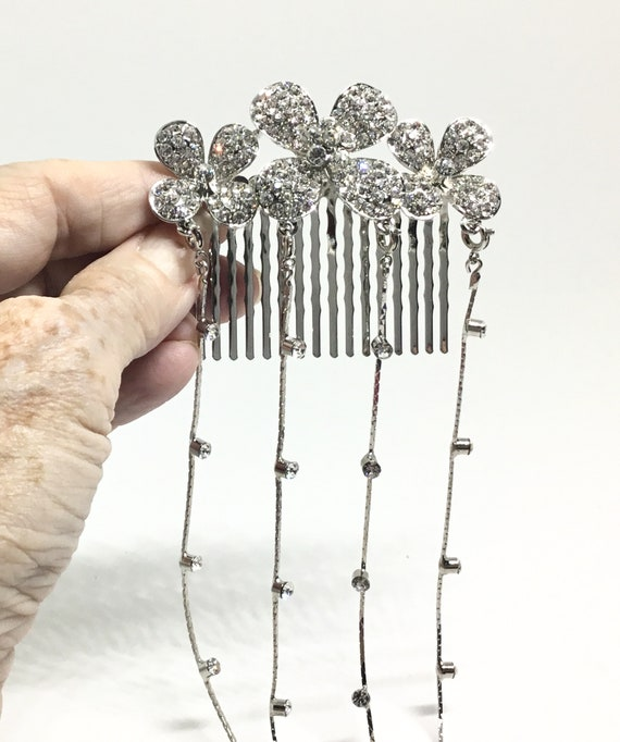 Wedding Hair Comb/ Clear Rhinestone Flowers/ Four Rhinestone Dangles/ Silvertone/ Vintage Inspired/ Weeding Accent/ DIY Crafting/ Bridal