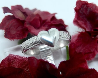 Sterling Silver Heart Ring, Valentine Gift