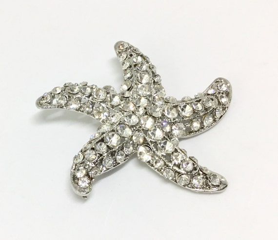 Wedding Crystal Starfish/Bridal Brooch /Craft Supply/Wedding Bouquet/Vintage Inspired/Sparkly Clear Rhinestones/DIY Projects/Bling Sparkle