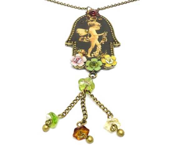 Michal Negrin Cupid Necklace, Vintage Necklace, Flower Dangles, Vintage Necklace
