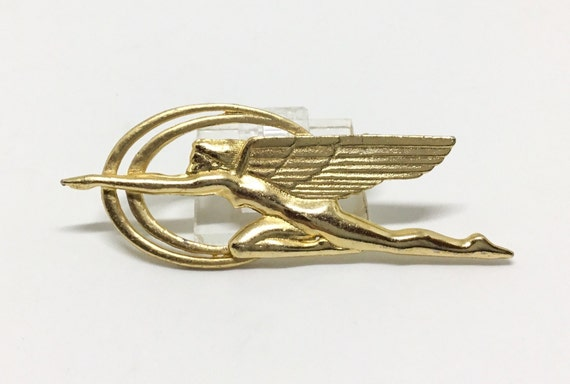 Vintage Art Deco Winged Goddess Brooch, Speed Power Beauty