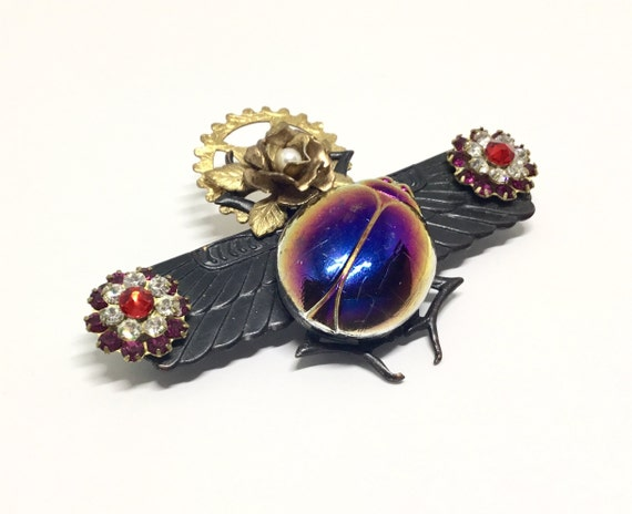 Handcrafted Scarabs Brooch, Cabbage Rose, Swarovski Crystal Flowers, Glam Steampunk