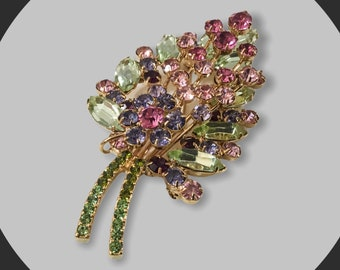 Vintage Pastel Rhinestone Floral Brooch, Signed Joan Rivers, Joan Rivers Jewelry