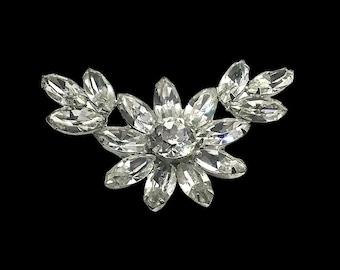 Vintage Regency Floral Brooch, Sparkly Clear Rhinestones, Brooch/Pendant