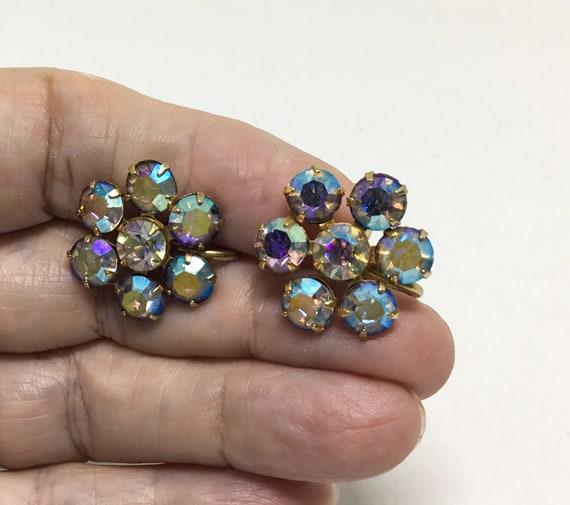 Vintage Weiss AB Rhinestone Screw Earrings, AB Rhinestone Flowers
