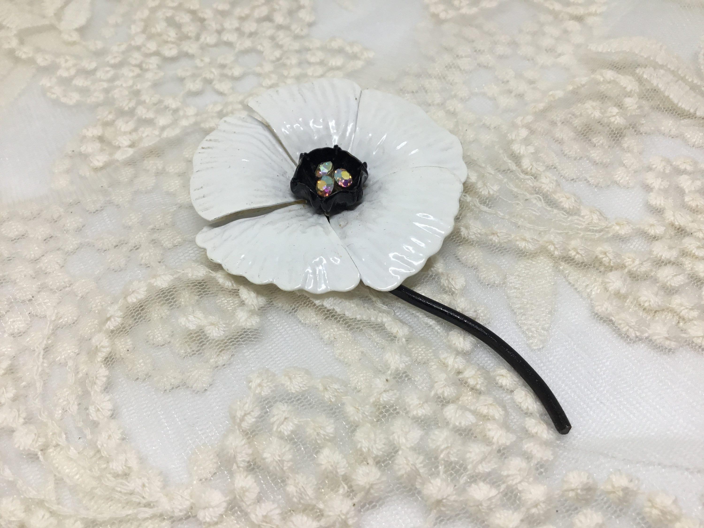 Vintage White Enamel Metal Flower Brooch Pin