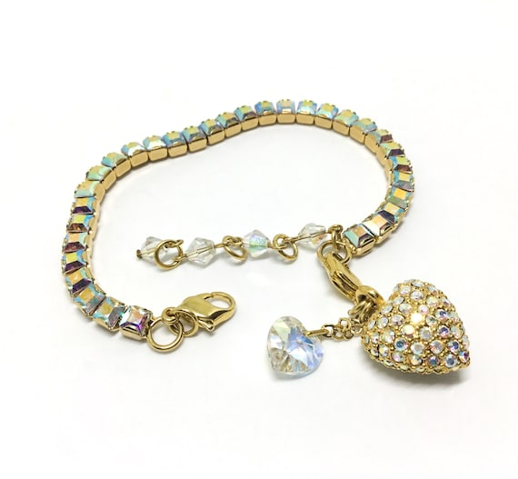 Kirks Folly AB Bracelet & Puffy Pave Heart Charm, AB Crystal Heart Dangle, Square AB Rhinestones, Rhinestone Jewelry