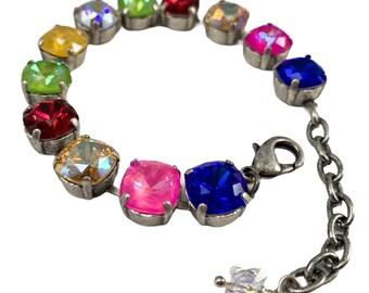 "Handmade European Crystal Bracelet, Multicolored, 6 1/2"", Sparkly Gift"