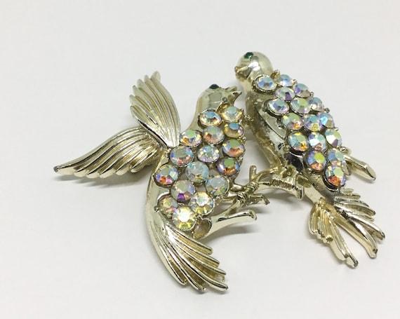 Vintage CORO Two Bird Brooch, AB Rhinestones, 1960s Midcentury, CORO Collectible, Bird Lover