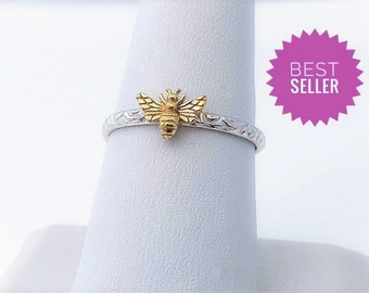 Handcrafted in USA , 24kt Gold Plated Silver Bee, Dainty 925 Sterling Honey Bee Ring, Filigree Band