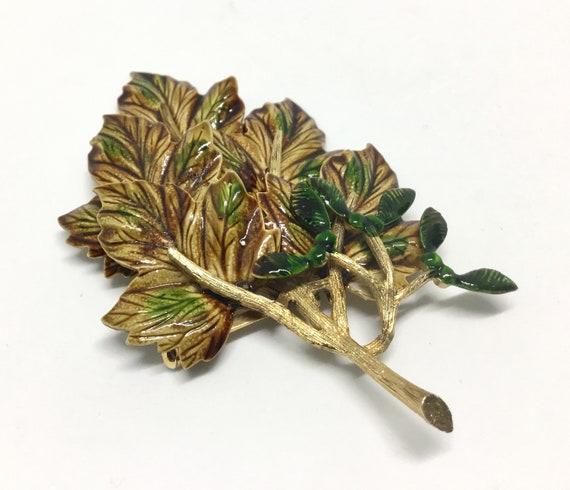 Vintage Weiss Leaf Brooch/ Large Enamel Leaf/ Seed Pods/ 1960s/ Maple Leaf Cluster/ Autumn Leaf/ Fall & Winter Leaf Brooch/ Browns Greens